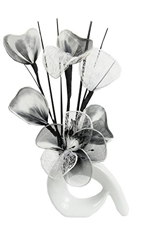 White Vase with White and Black ...