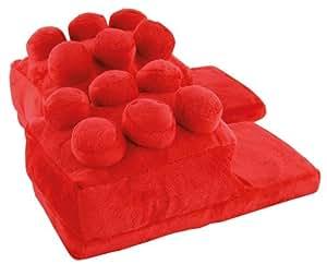 United Labels 0119708 - Pantofole a forma di mattoncini Lego per bambini, 35/37, Rosso
