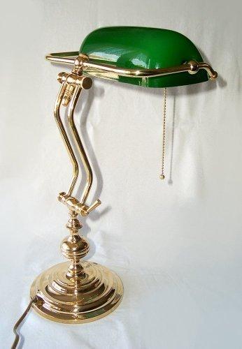 Schwere hochwertige Banker Lampe, Messing poliert, mundgeblasener Schirm