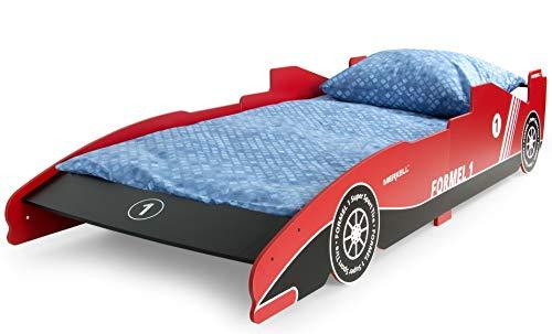 Leomark letto lettino per bambini in legno cassettone e materasso magnifiche stampe 200x90 colore rosso tema sportivo di formula 1