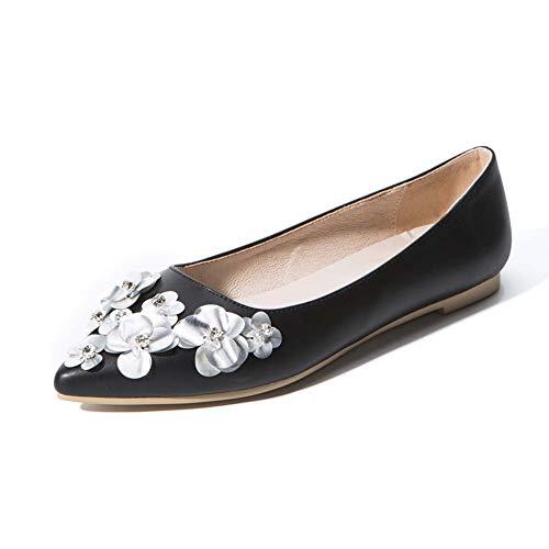 XLY Frauen weichen Spitzen Zehen Ballett Hochzeit Wohnungen Komfort Slip On Bridal Flats Schuhe,Black,40 (Wohnungen Hochzeit Ballett)