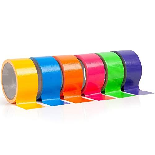 6 Rolle Klebeband Gewebeband Panzerband Malerkrepp Panzertape Teppichklebebänder   Klassenzimmer- und Kindergartenprojekte   9m X 50mm/6 farben