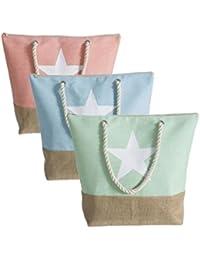 Bolsa capazo canvas yute estrella 3 colores (Surtido a elegir 1, indíquenos su preferencia tras hacer el…