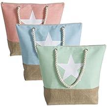 Bolsa capazo canvas yute estrella 3 colores (Surtido a elegir 1, indíquenos su preferencia