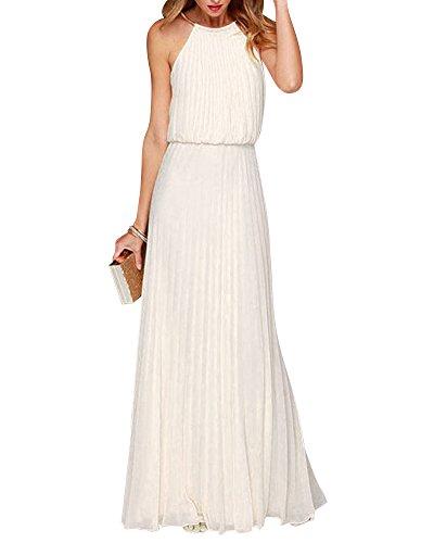 Damen Elegant Abendkleid Ärmellos Neckholder Elastisch Strap Brautjungfer Chiffon Faltenrock Lange Maxi Kleid Festkleider Partykleid Weiß M (Sommer-weiße Maxi-kleider)