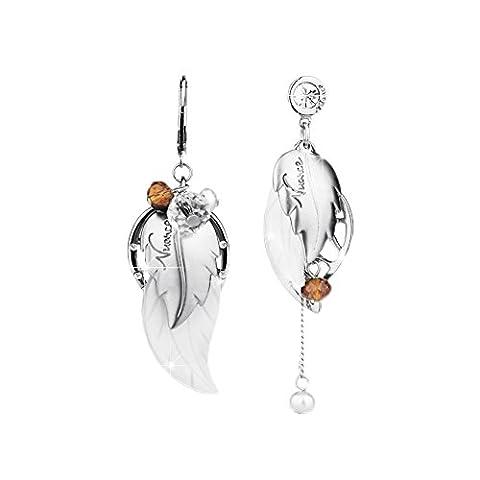Lianjie Women's Leaf Drop Dangle Alloy Crystal Earrings Asymmetric Bohemia Style Jewelry (silver color)