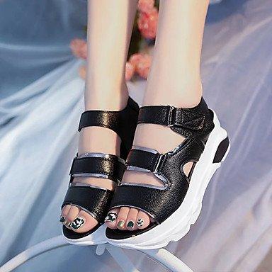 LvYuan Da donna Sandali PU (Poliuretano) Primavera Estate Fibbia Nastro a strappo Piatto Bianco Nero Beige 5 - 7 cm Black