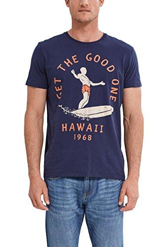 ESPRIT Herren T-Shirt 047EE2K014-Print, Blau (Navy 400), X-Large -