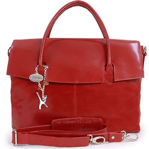 Catwalk Collection Handbags - Leder - Übergroße Laptoptasche Schultasche/Organizer/Arbeitstasche/Aktentasche für Damen - Laptop/iPad - Handtasche mit Schultergurt - HELENA - Rot -