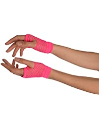 Neon Pink Fishnet Fingerless Party Gloves - Rose Gants