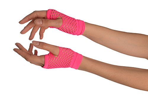 Neon Pink Fishnet Fingerless Party Gloves - Rosa Handschuhe (Pink Fishnet)