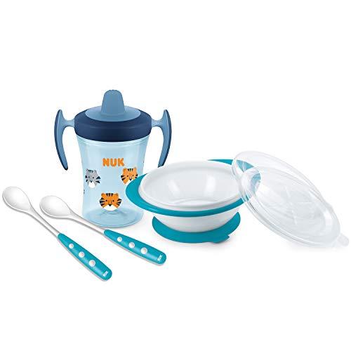 NUK 10225180 Boy - Juego de cubiertos y cubiertos para aprender a comer (a partir de 6 meses, en caja de regalo), color azul