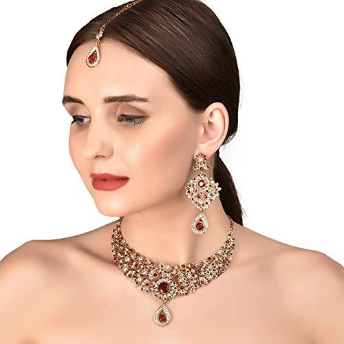Touchstone indischen Bollywood Maroon Weiß (Classic Hochzeit tragen Schmuck Set Halskette in Antik Gold Tone