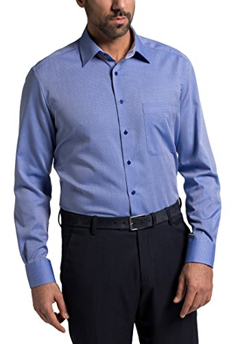 Eterna Long Sleeve Shirt Comfort Fit Fancy Weave Structured Blu
