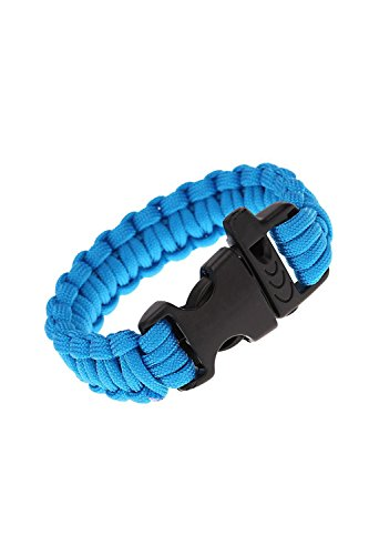 SODIAL (R)Corde de Parachute Kit d'urgence Corde de Bracelet de survie avec sifflet Boucle exterieur Camping bleu