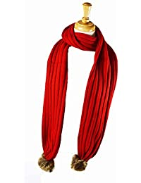 Luxury New ribbed knitted scarf with Faux fur poms Red