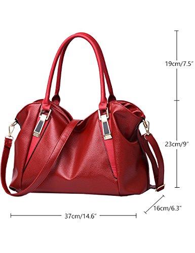 Menschwear Damen PU Handtaschen Damen Handtasche Schwarz Handtasche Schule Damen Handtaschen Rot-wien Rot-wien