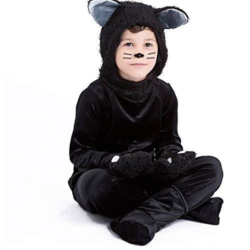 Schwanz Einfach Kostüm Katze - AIYA Halloween Maskerade Tier Schwarze Katze Performance Kostüm Kind Katze Kostüm Kinderkostüm Bühnenkostüm