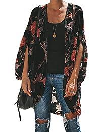 b53ea99a0439c Walant Femmes Gilet Kimono Casual Veste Cardigan Été Floral Lâche  Mousseline Outwear Blouse Chic Robe de Plage Bohème Pareo Tops…