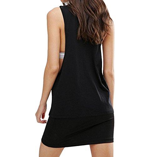 Vision Streetwear - T-shirt de sport - Sans Manche - Femme Noir