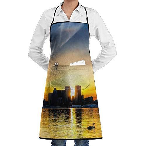 Küche, die Garten-Schürze kochtn, Bib Apron Pockets Sunset City Durable Cooking Kitchen Aprons