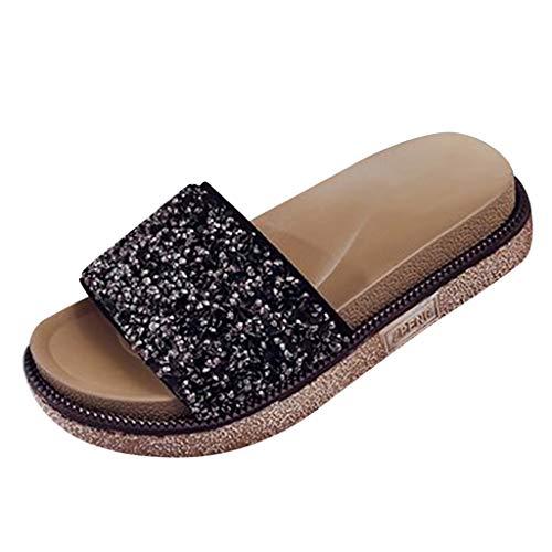 VECDY Damen Sandalen Herren Schuhe Sommer Mode Wohnungen Pailletten Kristall Open Toe Strand Schuh römische Hausschuhe Sandalen Flache Schuhe 35-43