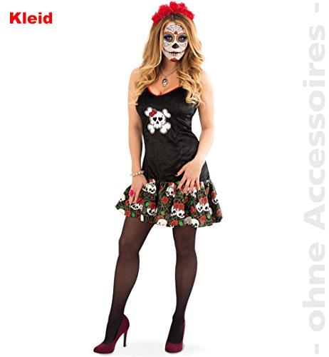 Unbekannt Totenkopf Kleid Damen Kostüm Tag der Toten Halloween Damenkostüm EL Muerto