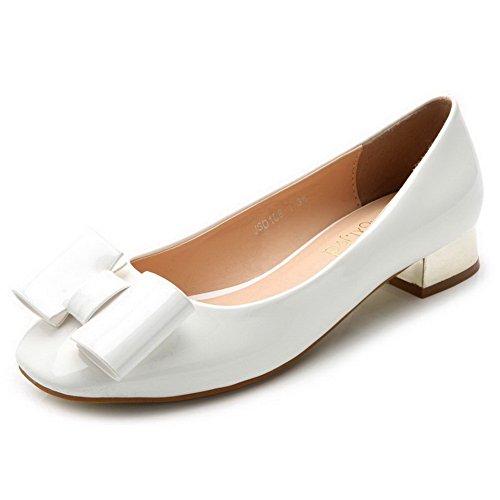 AalarDom Damen Niedriger Absatz Lackleder Weiches Material Ziehen Auf Pumps Schuhe Weiß-Schleife