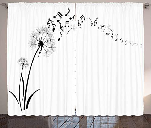 ABAKUHAUS Musik Rustikaler Gardine, Wiese Löwenzahn Floral, Schlafzimmer Kräuselband Vorhang mit Schlaufen und Haken, 280 x 260 cm, Schwarz Weiss Wiese Musik