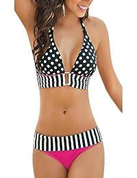 De las mujeres lunares Vintage 2 piezas Colorblock Bikini trajes de baño