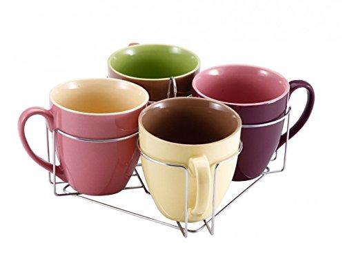 Wellgro 5-tlg. Tassen-Set mit Ständer 580 ml - Keramik Tassen - Teetassen - Kaffeetassen - Geschirr - Tasse - Jumbotasse - Becher-Set - Tassenset -