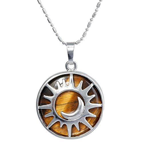 mookaitedecor Sonne und Mond Anhänger Halskette für Frauen und Männer, Heilung Stein Anhänger mit Kette 22,5