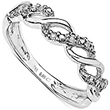 The Diamond Ring Collection: Beautiful 9CT White Gold 0.05CT Diamond 3 Row on the Twist Eternity Ring, Anniversary Gift, Ring Size H,I,J,K,L,M,N,O,P,Q,R,S,T,U,V,W