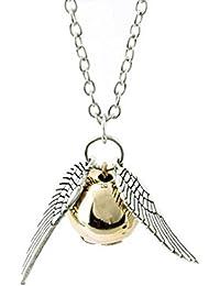 Collar chapado en oro, diseño de snitch con alas en plata en oro antiguo