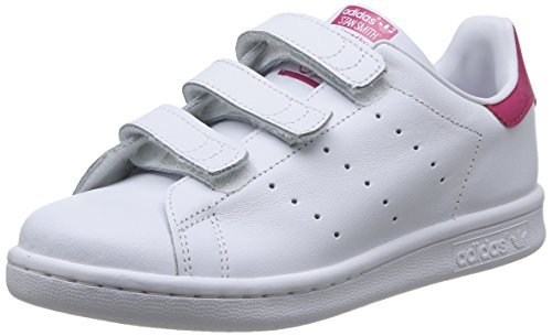 adidas Stan Smith, Sneakers Basses Fille, Blanc (FTWR White/FTWR White/Bold Pink), 35 EU (UK Child 2/3 Enfant UK)