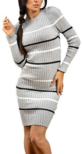 Zeta Ville - Abito in maglia vestito a righe aderente girocollo - donna - 012z (Grigio, IT 40/42/44, ONE SIZE)