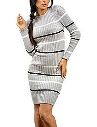 Zeta Ville - Vestido ajustado de punto de rayas manga corta - para mujer - 012c