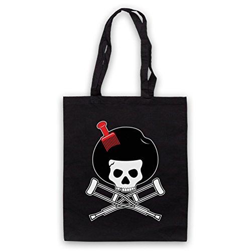Inspiriert durch Jackass Skull & Crossbones Logo Afro Pick Inoffiziell Umhangetaschen Schwarz