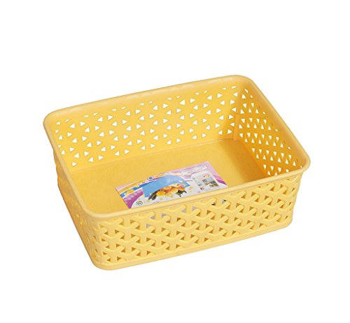 Fable Korean Storage Basket - Vegetable Storage Basket Organizer - Multipurpose Plastic Storage Bins - Rectangle and Yellow