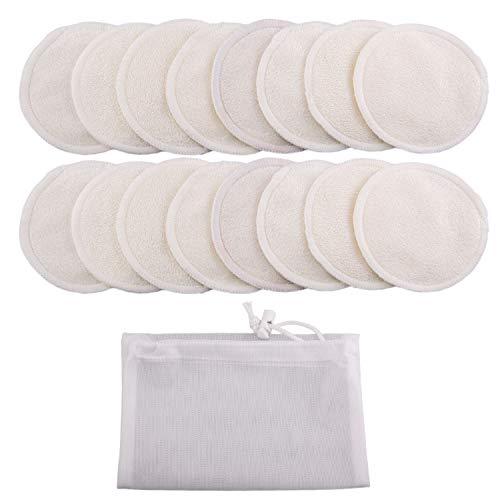 16pcs tampons de dissolvant de maquillage rond en bambou lavables réutilisables avec sac de rangement pour les fournitures de soins de la peau 8 cm 3,15 pouces