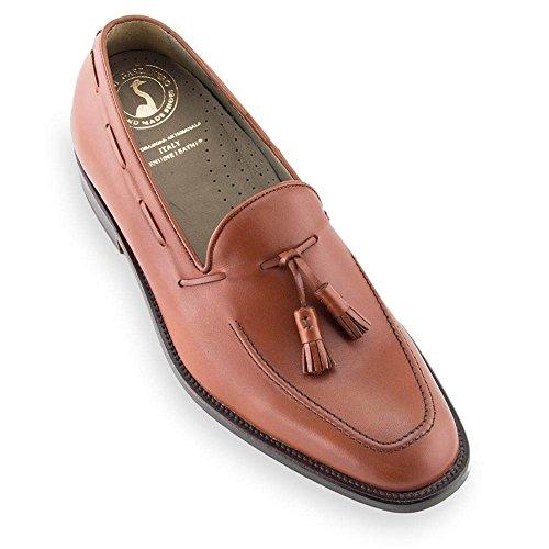 Scarpe con rialzo da uomo che aumentano l'altezza fino a 7 cm. fabbricate in pelle. modello valentino marrone 40