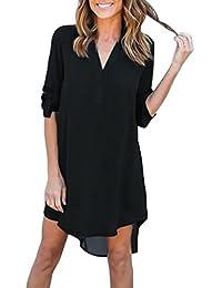 7d37b68ea547 Donna Camicia Abito Eleganti Corta Estivi da Giorno Chiffon Vestito V  Grazioso Moda Scollo Manica Lunga