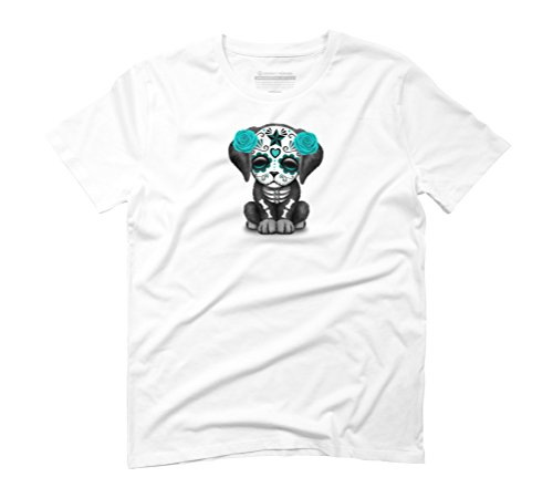 Cute Blue Day of the Dead Puppy Dog Men's Graphic T-Shirt - Design By Humans White