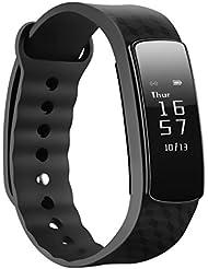 Montre Connectée Mpow Bracelet Sportif Tracker d'Activité Montre Fitness Pédomètre Design Elégant Noir Compteur de Pas et Calorie Compatible avec Android et IOS
