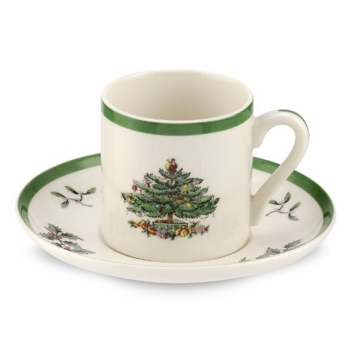 Spode Christmas Tree Espresso Cup and Saucer, Set of 4 by Spode 4 Spode Christmas Tree