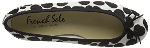French Sole Damen Henrietta Spot Calf Hair Ballerinas Schwarz (Schwarz)