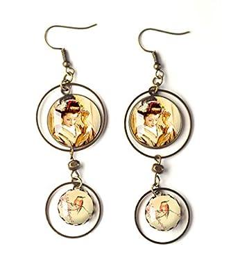 Boucles d'oreilles cabochons, Geisha, Inspiration Japon, beige jaune, petit oiseau