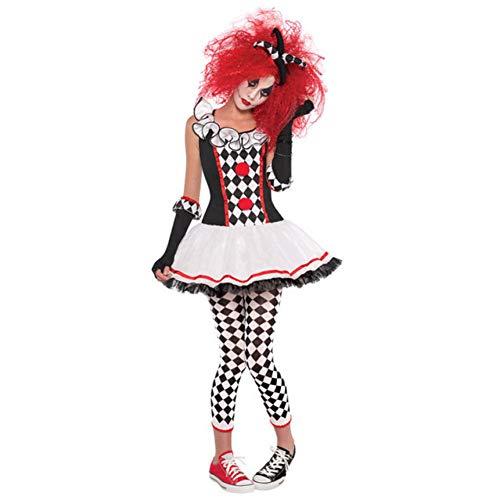 Weibliche Harlekin Kostüm - MHPY HalloweenErwachsene Kostüm Halloween Cosplay Harlekin Clown Zirkus Kleid Leistung Kleidung Party für weibliche Geister Cosplay