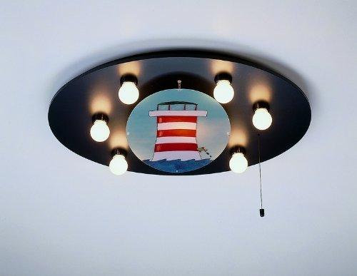 Niermann Standby 755 Decken-Bilderleuchte Leuchtturm, inklusive Leuchtmittel: 5 x E14 max.40 Watt + 1 x E14 max. 15 Watt, 53 x 71 x 8 cm, Schlummerlichtfunktion über Zugschalter, Made in Germany