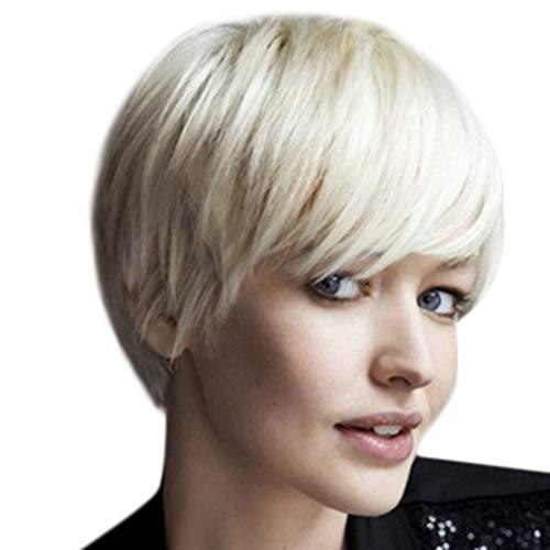 Amphia - Mädchen Mode Kurze Weiße Perücke Frauen Kurze Gerade Haar Perücke Weibliche Faser - Länge: ca. 12 ()